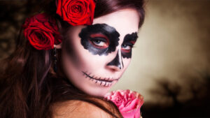 Woman in La Catrina costume, Day of the Dead tradition
