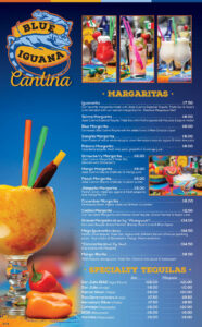 Blue Iguana's margarita and tequila menu