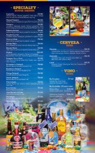 Blue Iguana's cocktail, beer, and wine menu