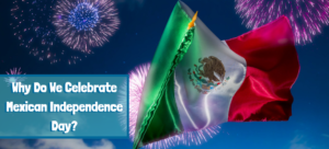 waving Mexican flag with fireworks