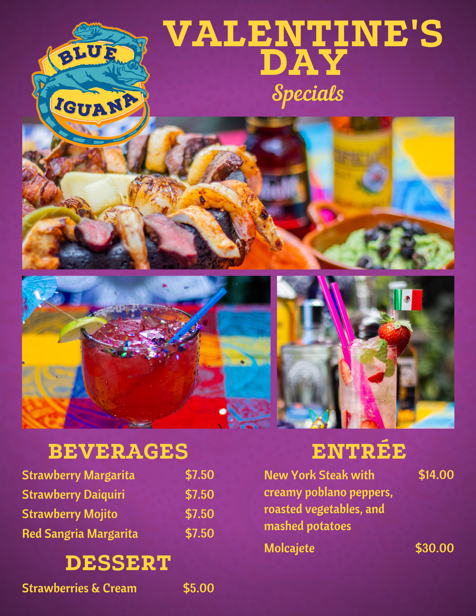 Blue Iguana Holiday Specials Menu